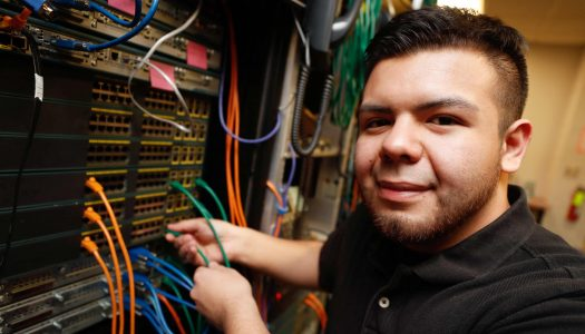 Bryan Escobar of Lexington came to UNK through its Kearney Bound program, which is for first-generation college students. He has an internship with Turnkey Computer Systems, a Texas company that provides management and accounting systems for the cattle feeding industry. (Photo by Corbey R. Dorsey, UNK Communications)