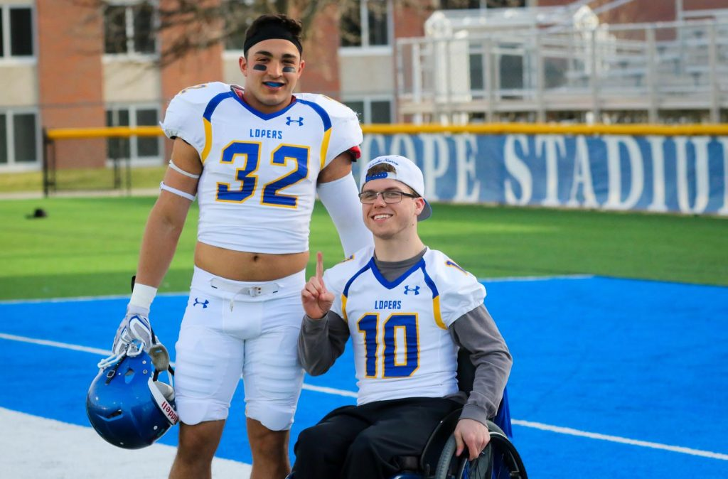 University of Nebraska at Kearney linebacker Sal Silvio met Andrew Dubowsky three years ago when they were both freshmen living in the same dorm. They went to class together, talked about the Kansas City Chiefs and Royals and formed a friendship strengthened by sports. (Photo by Todd Gottula, UNK Communications)