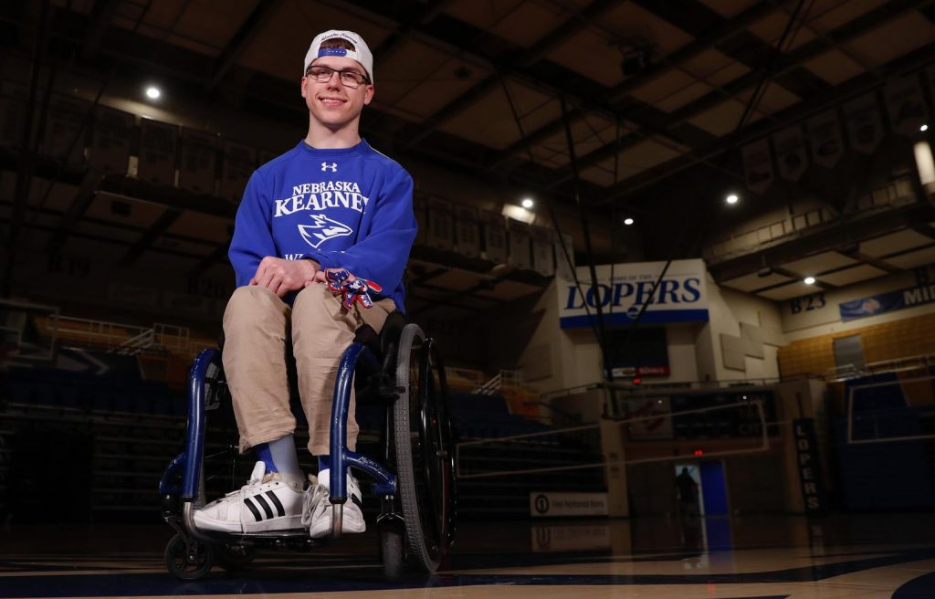 "Andrew Dubowsky, a junior at the University of Nebraska at Kearney, has created a special bond with Loper athletes. ""I've loved every second I've been at UNK,"" Dubowsky said. ""I've made a lot of friends because of football and wrestling."" (Photo by Corbey R. Dorsey, UNK Communications)"