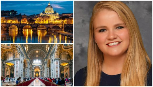 Studying abroad, UNK student Paige Kristensen gets surprise at Vatican church
