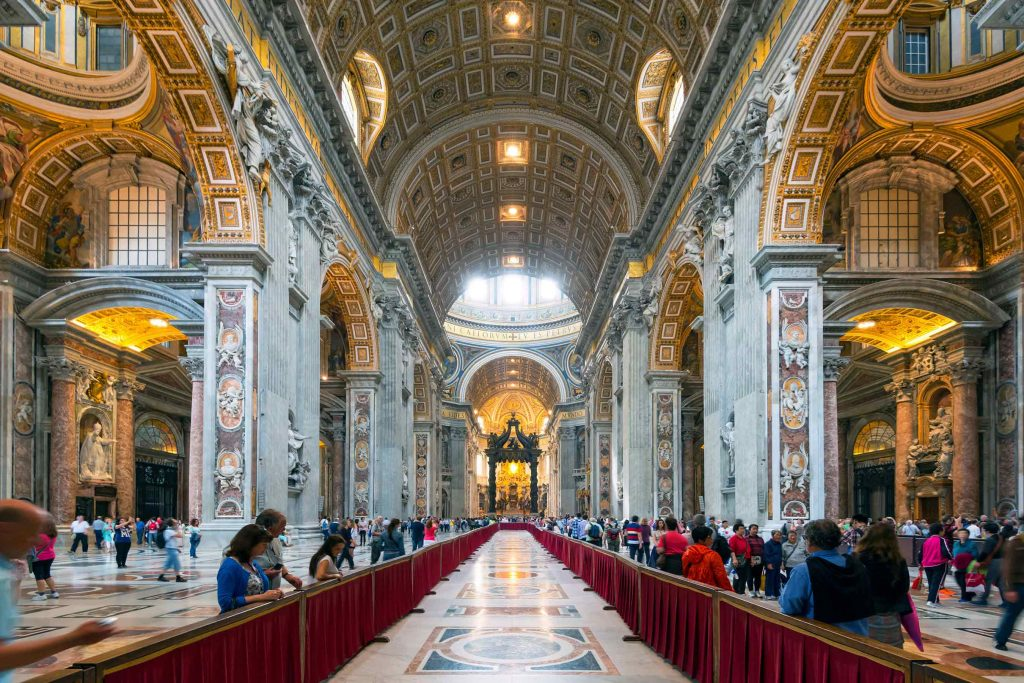 St. Peter's Basilica in Vatican City is the Roman Catholic Church headquarters. It features a nearly 450-foot high dome. (Courtesy photo, Shutterstock))