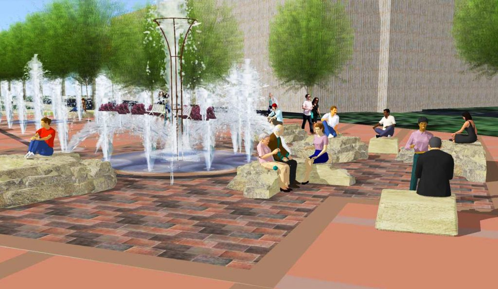 Because sewer upgrades will occur directly under Cope Fountain, that feature must be removed and replaced. The fountain will stay in the same location near the center of campus. The new design hasn't been finalized. (Courtesy Chroma Design)