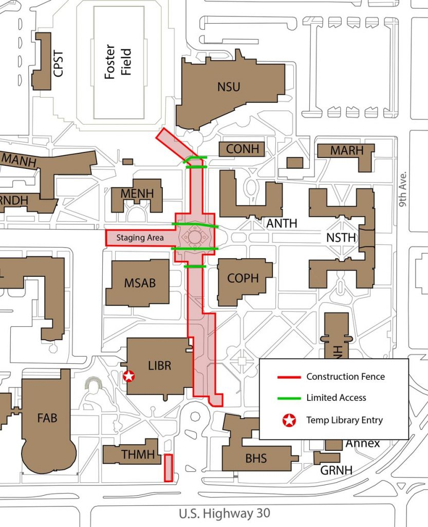 The sanitary and storm sewer project at UNK covers a north-south area from the southwest corner of the union to the southeast corner of Thomas Hall, running east of Men's Hall, the Memorial Student Affairs Building and Calvin T. Ryan Library. An equipment staging area will be located just west of Cope Fountain, between Men's Hall and the student affairs building.