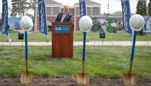 Chancellor Doug Kristensen addresses the crowd at Wednesday's groundbreaking ceremony for the University of Nebraska at Kearney's new $30 million STEM building. (Photo by Corbey R. Dorsey, UNK Communications)