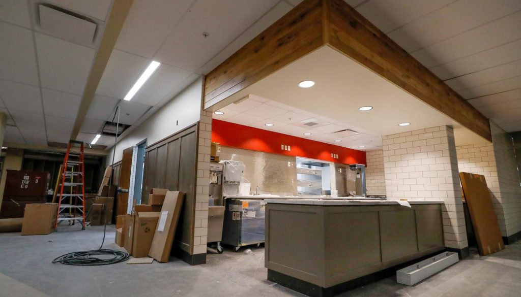 Construction crews are entering the final phase of a $6 million renovation project that will upgrade a significant portion of the UNK student union while adding a Chick-fil-A and full-scale Starbucks. (Photo by Corbey R. Dorsey, UNK Communications)