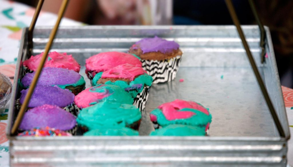 Colorful cupcakes are on display for customers Friday evening during the Biz Kidz Camp product showcase at the Kearney Hy-Vee. (Photo by Tyler Ellyson, UNK Communications)