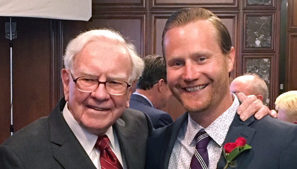 Former Kearney resident and UNK graduate Gregory Verraneault meets with Warren Buffett May 11, when he was honored with the Alice Buffett Outstanding Teacher Award. Verraneault teaches third grade at Fullerton Elementary in Omaha. (Courtesy Photo)