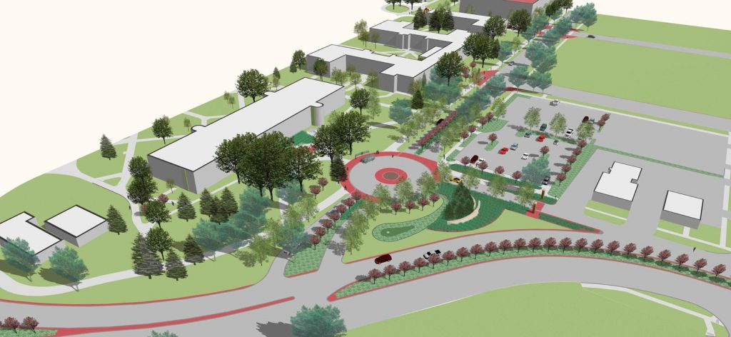 "UNK is working on plans for next summer to create a main entrance on the east side of campus. The project, which was outlined in the 2006-15 campus master plan, will transform the area near Warner Hall into a ""front door"" that welcomes students and visitors to UNK."