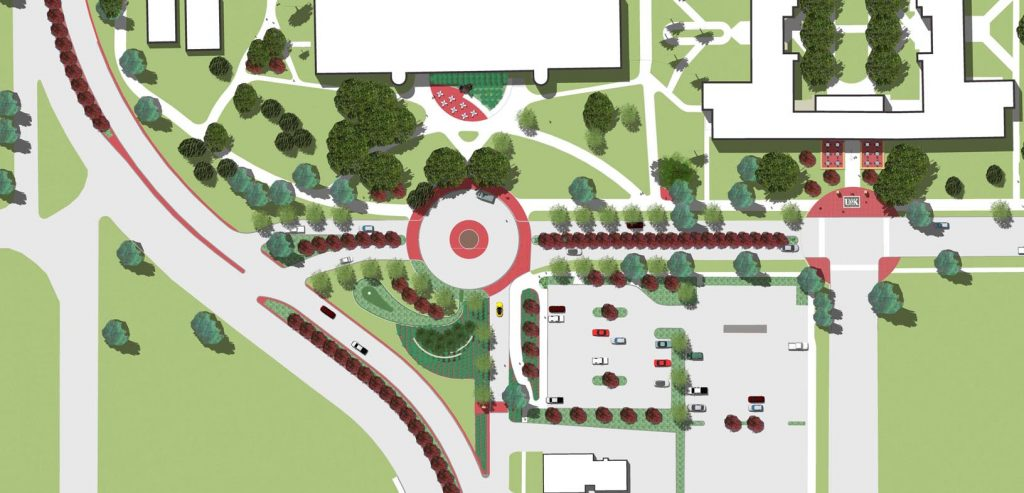 A reworked east entrance to the University of Nebraska at Kearney campus would include a circular drop-off/pick-up area in front of Warner Hall along with landscaping and other traffic improvements.