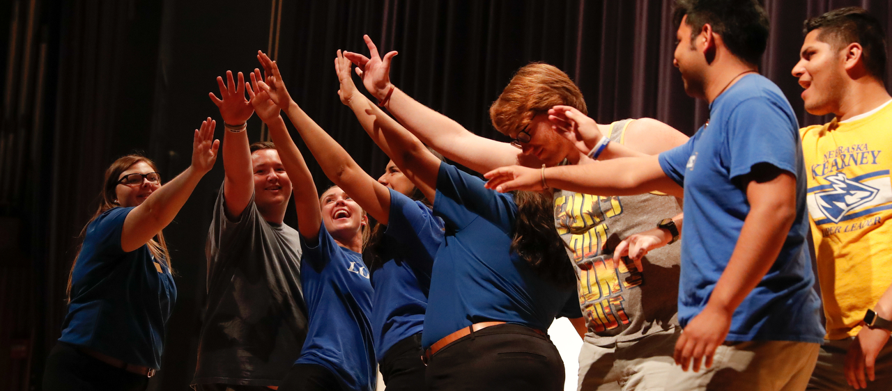 UNK's New Student Enrollment leaders provide a little entertainment for incoming freshmen and their families.