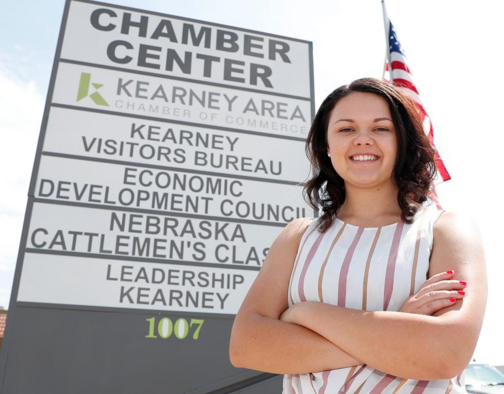 "Jaclyn Stagemeyer, a senior at UNK, is working this summer as the marketing and events intern with Kearney Area Chamber of Commerce. ""It's been a great experience,"" the Arapahoe native said. (Photo by Corbey R. Dorsey, UNK Communications)"