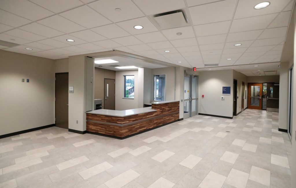 A spacious lobby welcomes residents and guests to the new Village Flats residence hall at UNK. A ribbon-cutting and public open house are scheduled for 10-11:30 a.m. Tuesday. (Photo by Corbey R. Dorsey, UNK Communications)