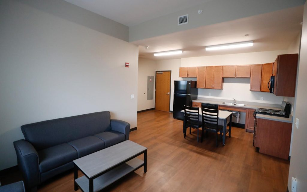 Village Flats features 68 one-bedroom and 31 two-bedroom units that are fully furnished with wireless internet, cable, utilities and furniture included. (Photo by Corbey R. Dorsey, UNK Communications)