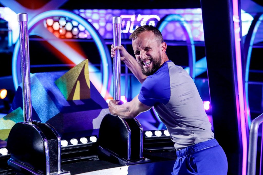 """UNK professor Bryce Abbey competes at 8 p.m. Friday on the CBS show """"TKO: Total Knock Out."""" Abbey won $50,000 on the show in August and is now competing against four others in the finale for a chance to win $100,000. (Photo by Monty Brinton, CBS Broadcasting Inc.)"""