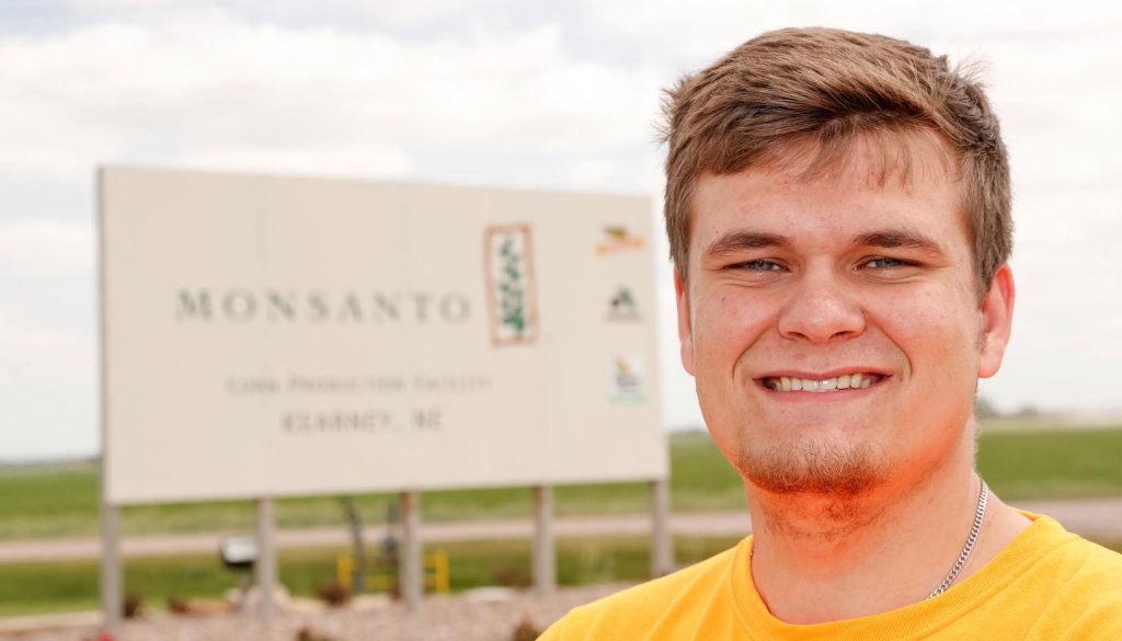 Dane Daigger, a senior agribusiness major at UNK, is gaining hands-on experience in the field through an internship with Bayer, previously operating as Monsanto. The Tryon native wants to remain in Nebraska after graduation. (Photo by Corbey R. Dorsey, UNK Communications)