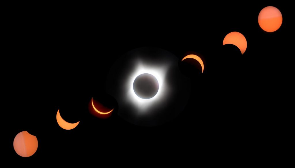 UNK faculty Emma Brinley Buckley and Mary Harner used time-lapse cameras to study the solar eclipse and its impact on the ecosystem. This composite photo of the Aug. 21, 2017, event is among those the researchers produced. (Photo courtesy of Emma Brinley Buckley)