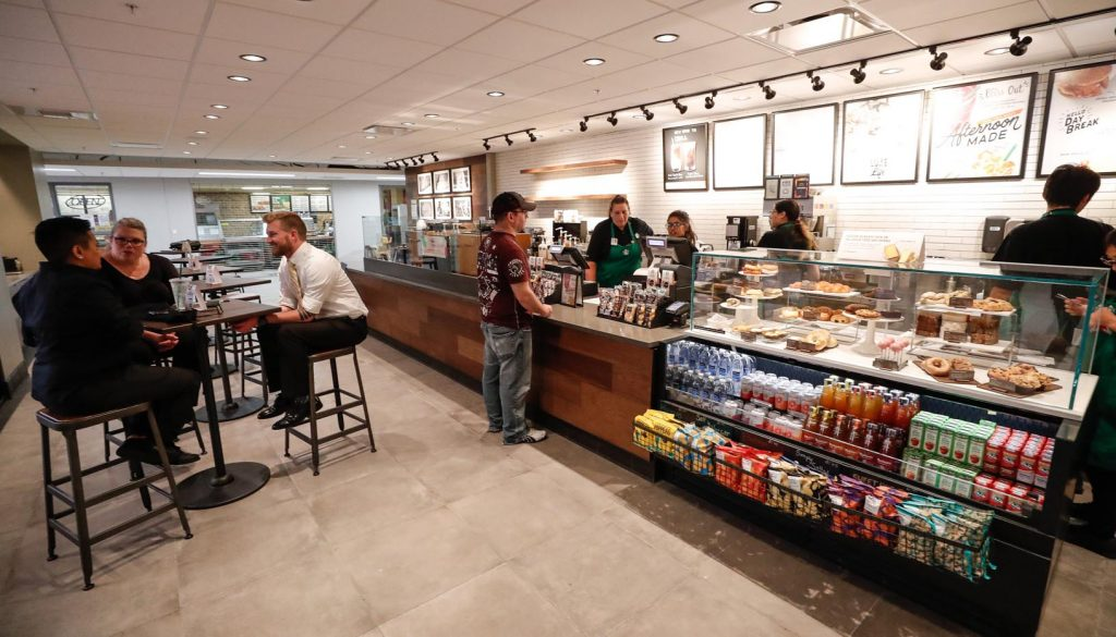 A $6 million renovation project that started in December added a fully licensed Starbucks to the student union at the University of Nebraska at Kearney. (Photo by Corbey R. Dorsey, UNK Communications)
