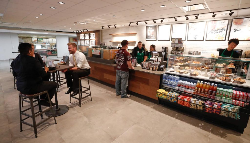 Starbucks opened Wednesday inside the University of Nebraska at Kearney's Nebraskan Student Union. (Photo by Corbey R. Dorsey, UNK Communications)