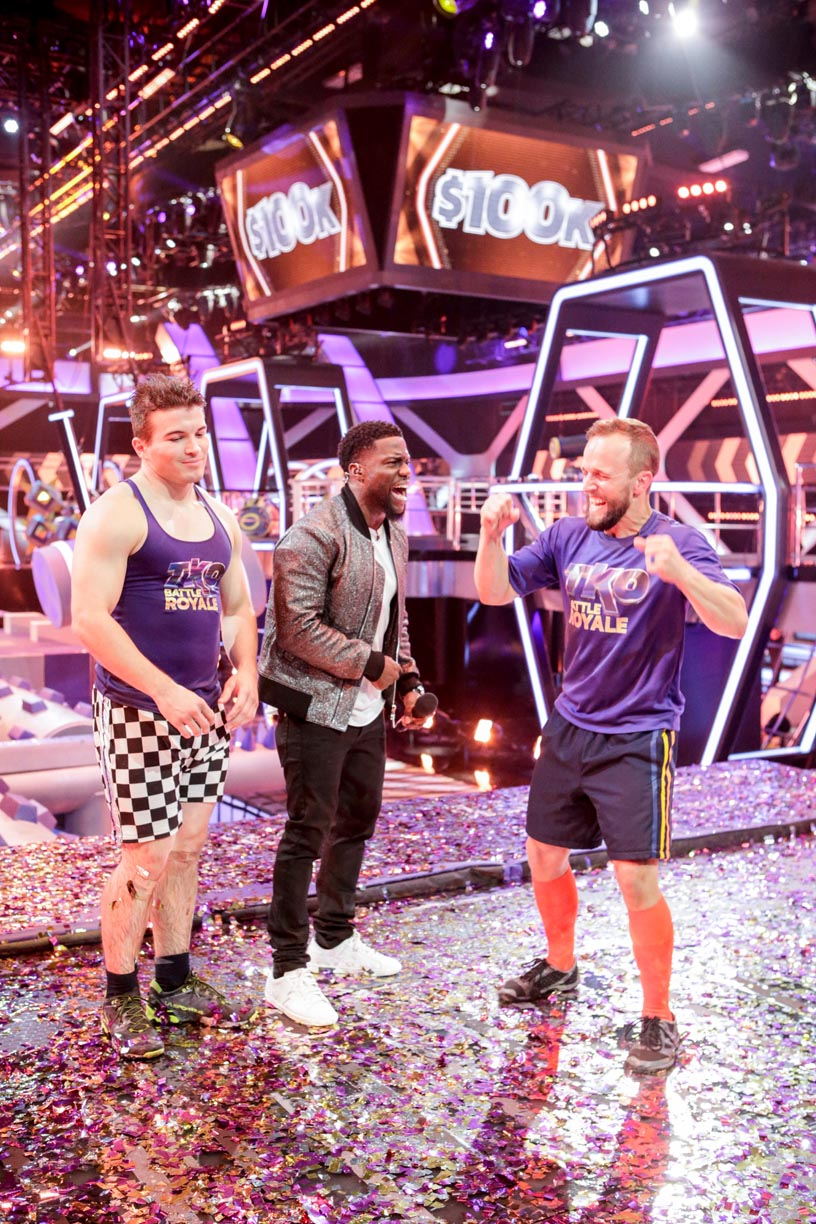 "Bryce Abbey celebrates his win on the CBS show ""TKO: Total Knock Out"" with show host Kevin Hart. (Photo by Sonja Flemming, CBS ©2018 CBS Broadcasting)"