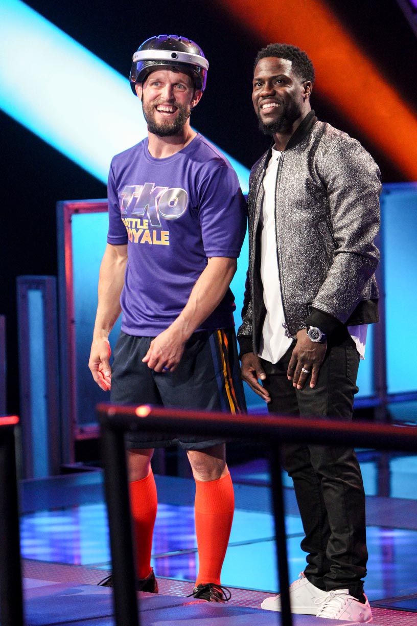 "Bryce Abbey with ""TKO: Total Knock Out"" host Kevin Hart. (Photo by Sonja Flemming, CBS ©2018 CBS Broadcasting)"