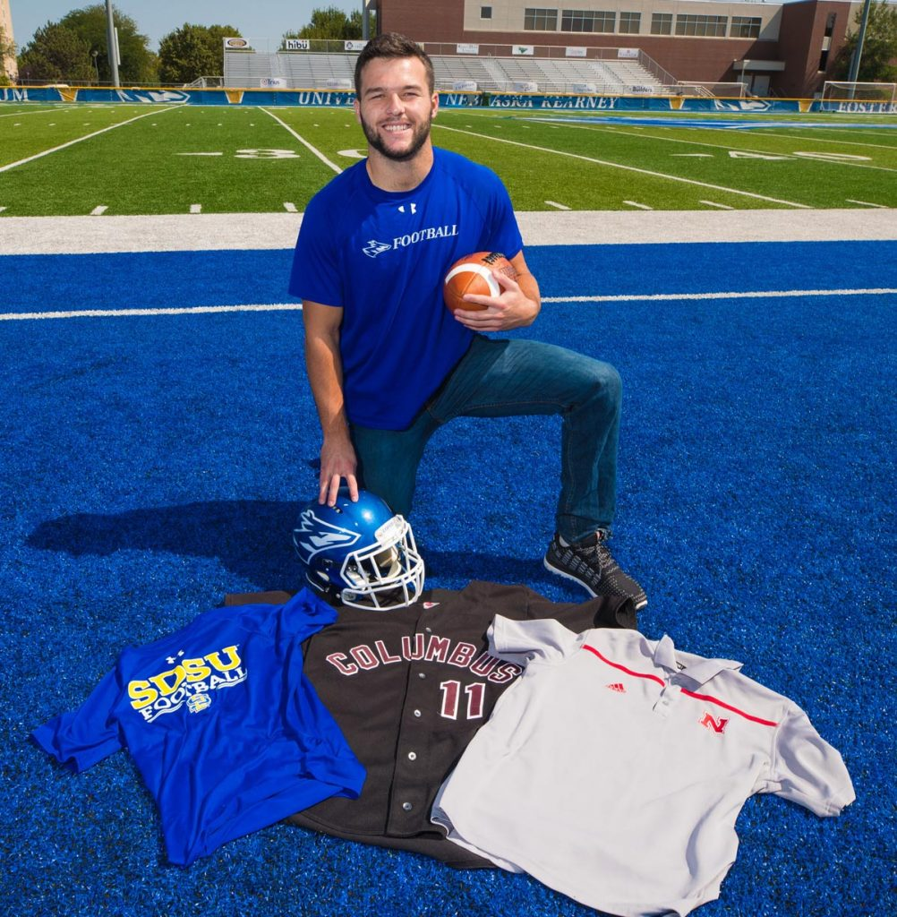 After a standout prep career at Columbus High School, Blake Bubak bounced between college baseball and football at the University of Nebraska at Kearney and South Dakota State University – with another stop at the University of Nebraska-Lincoln. Today he's found his home as a starter on the UNK football team. (Photo by Corbey R. Dorsey, UNK Communications)