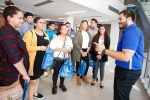 Cesar Duran, diversity and community outreach counselor with the UNK Admissions Office, meets with high schoolers Wednesday at Multicultural Student Leaders Day. (Photo by Corbey R. Dorsey, UNK Communications)