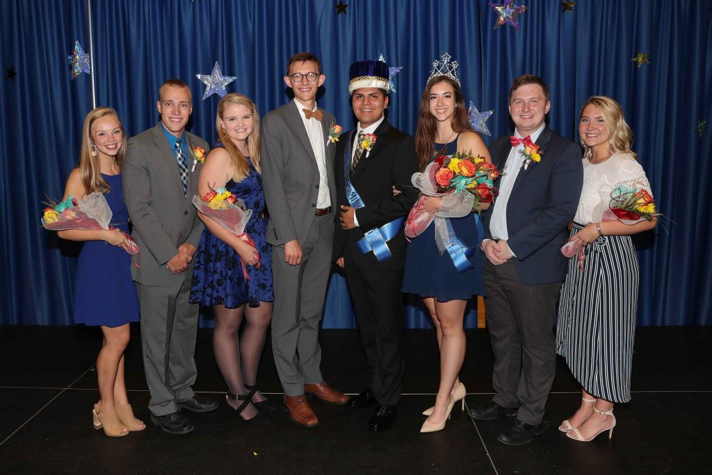 UNK Homecoming royalty candidates include (left to right): McClain Narber, Phillips; Ryan Clark, Kearney; Jase Hueser, Papillion; Paige Kristensen, Minden; Odwuar Quiñonez, Lexington; Anna Wegener, Lindsay; Tyler Nelsen, Lincoln; and Sarah Petersen, Omaha. (Photo by Corbey R. Dorsey, UNK Communications)