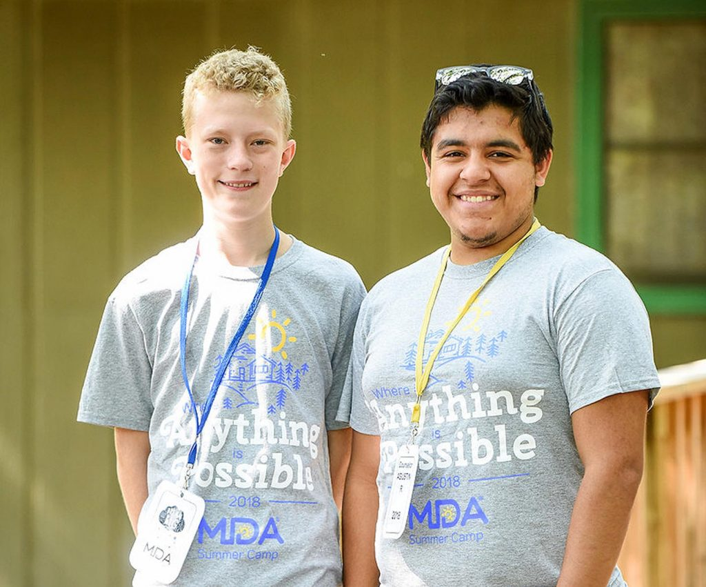 Agustin Ruvalcaba served as a counselor during a weeklong summer camp at Calvin Crest near Fremont. It is organized by the Muscular Dystrophy Association of Nebraska. (Courtesy photo, MDA of Nebraska)