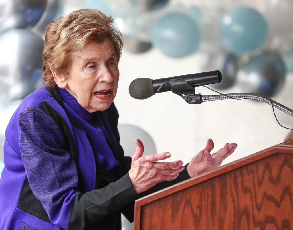 LaVonne Kopecky Plambeck of Omaha speaks during Friday morning's groundbreaking ceremony for UNK's new Early Childhood Education Center. The $7.8 million, 19,900-square-foot facility under construction at UNK's University Village development is named after Plambeck. (Photo by Corbey R. Dorsey, UNK Communications)
