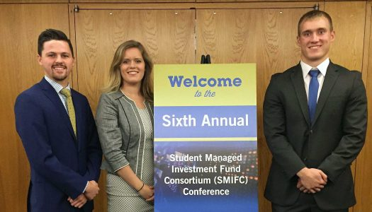 UNK students, from left, Tristan Crook, Madisson Whalen and Adam Starr placed second in a collegiate stock pitch competition during the sixth annual Student Managed Investment Fund Consortium Conference Oct. 4-5 in Chicago. (Courtesy photo)