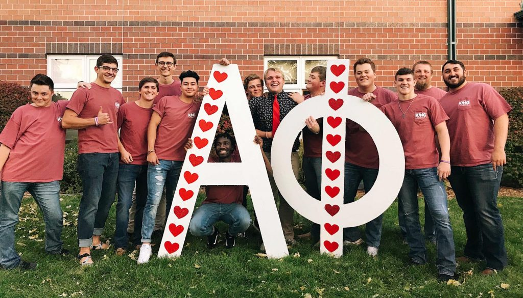 UNK's Alpha Phi sorority will host its annual King of Hearts male pageant 7 p.m. Nov. 1 at Merryman Performing Arts Center in Kearney. This year's contestants are pictured with last year's winner, Jacob Curry, sixth from right. (Courtesy photo)