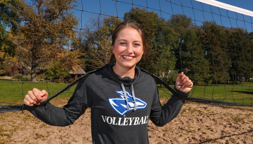 After finishing her senior season of volleyball at the University of Nebraska at Kearney, standout setter Lindsey Smith will play beach volleyball at Southern Miss. (Photo by Corbey R. Dorsey, UNK Communications)