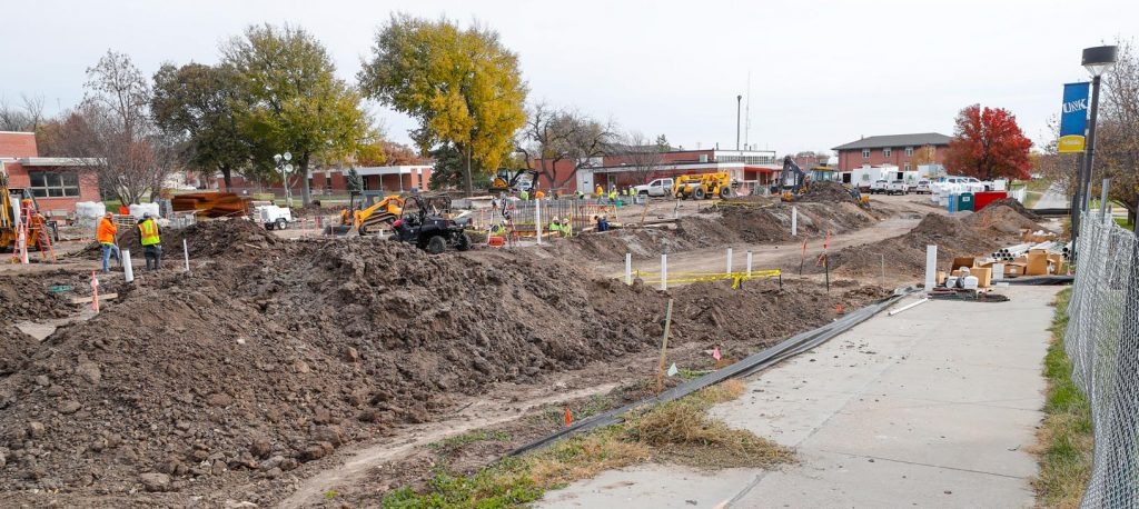 Construction of the new STEM building at the University of Nebraska at Kearney is underway. Masonry walls for a storm shelter are nearly complete, and a Geopier system used to reinforce the ground below the building has been installed. (Photo by Corbey R. Dorsey, UNK Communications)