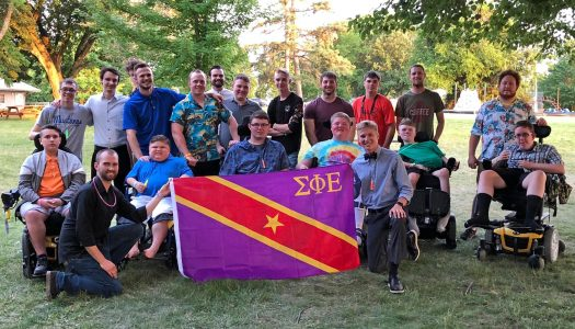 Sigma Phi Epsilon fraternity members at UNK volunteered at a weeklong summer camp at Calvin Crest near Fremont. It is organized by the Muscular Dystrophy Association of Nebraska. (Courtesy photo, MDA of Nebraska)