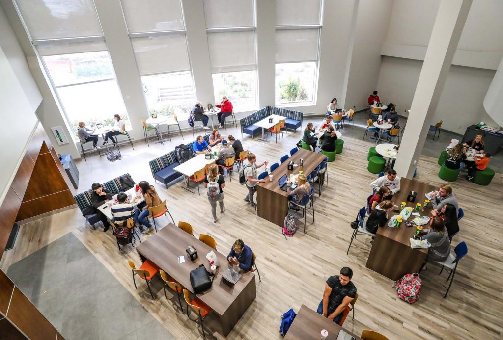 The $6 million renovation of UNK's Nebraskan Student Union improved dining and meeting spaces within the union while adding a Chick-fil-A and Starbucks. (Photo by Corbey R. Dorsey, UNK Communications)