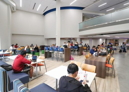 UNK students study and dine inside the newly-renovated Nebraskan Student Union food court. The space soon will see the addition of a large video wall with nine 55-inch LCD displays. (Photo by Corbey R. Dorsey, UNK Communications)