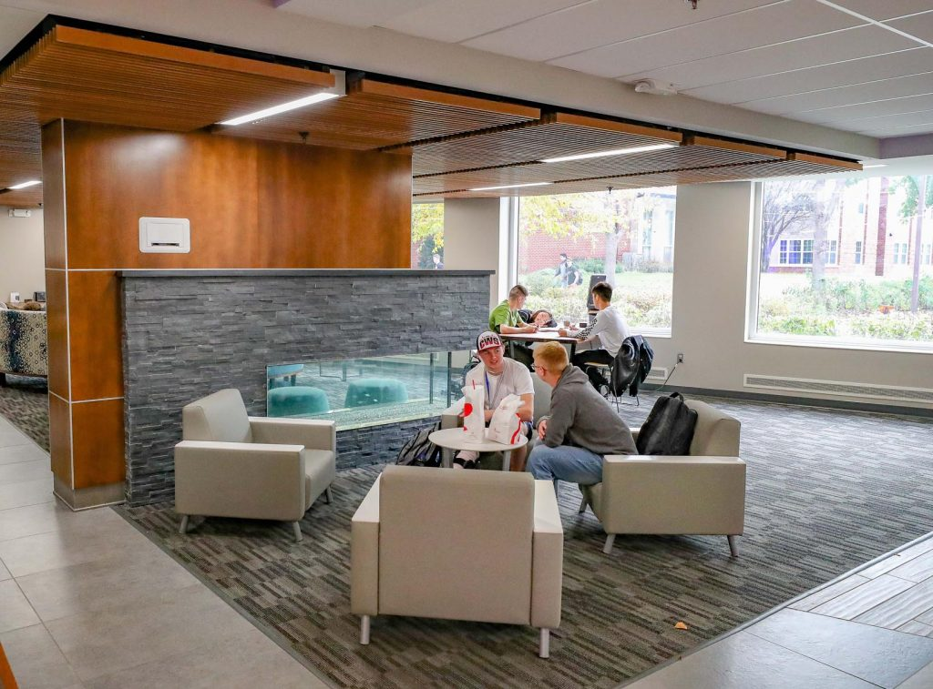 New furniture has been added to the fireplace lounge and other areas inside UNK's Nebraskan Student Union, which is nearing completion. (Photo by Corbey R. Dorsey, UNK Communications)