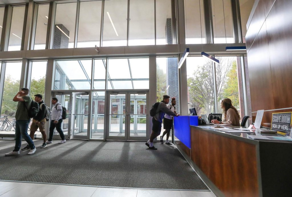 Branding elements are coming soon to UNK's newly-renovated Nebraskan Student Union, including a large Loper head near the welcome desk. (Photo by Corbey R. Dorsey, UNK Communications)