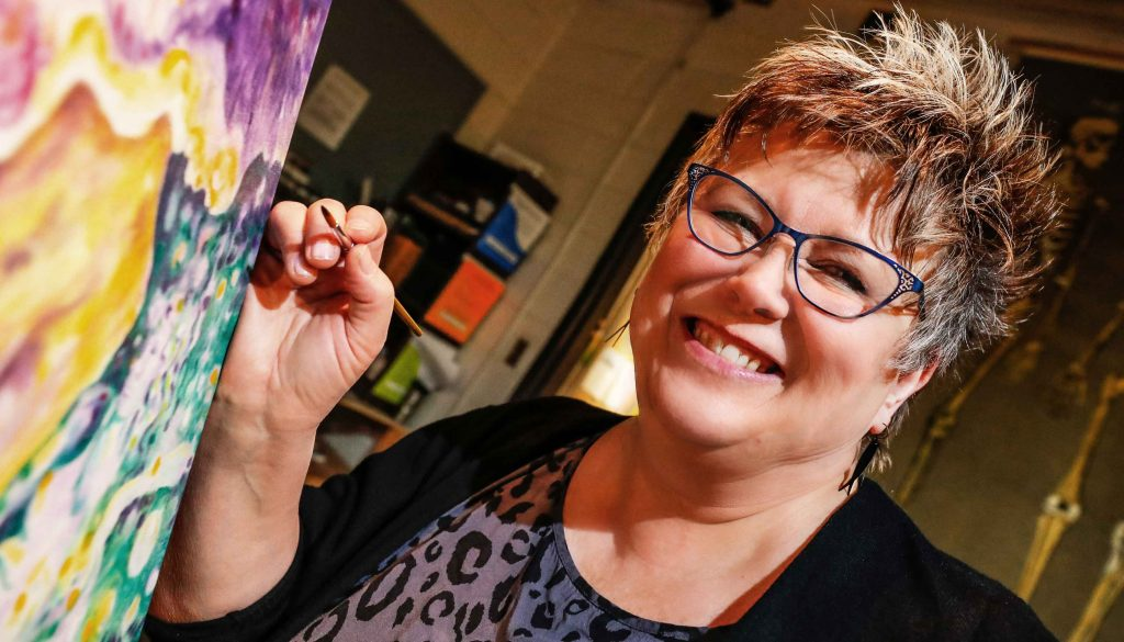 UNK faculty member Christy Kosmicki was recently named the Nebraska Art Teachers Association Higher Education Art Educator of the Year. (Photo by Corbey R. Dorsey, UNK Communications)