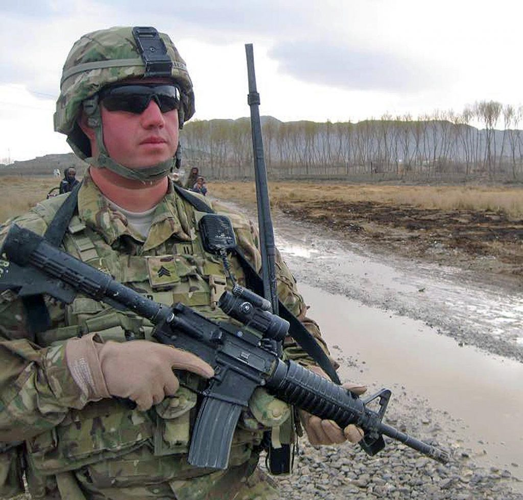 UNK student Jason Baker patrols an area outside Kandahar in southern Afghanistan in 2011. Baker served 11 years in the U.S. Army and Nebraska Army National Guard. (Courtesy photo)