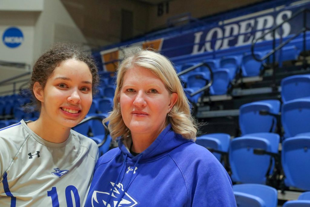 """UNK volleyball player Julianne Jackson comes from a long line of athletes in her family, including her mother Dawn, who played volleyball at Pittsburg State. """"It's really cool for us as parents to watch them play,"""" Dawn said. """"I almost cry every time I watch her."""" (Photo by Corbey R. Dorsey, UNK Communications)"""