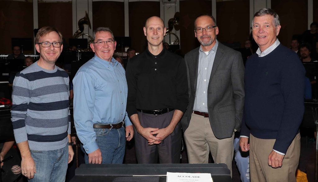Saturday's UNK Wind Ensemble performance brings together five current and former UNK band directors whose service covers 50-plus years. Pictured, from left, are conductors Brian Alber, Gary Davis, Neal Schnoor, Duane Bierman and Ron Crocker. (Photo by Corbey R. Dorsey, UNK Communications)