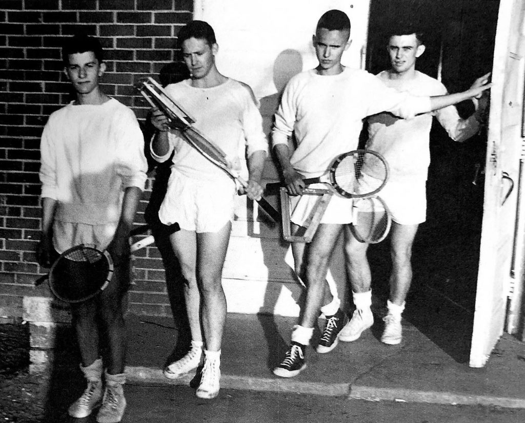Earl Rademacher, left, played tennis for UNK in the early 1950s, earning the No. 1 singles spot as a senior. He still schedules a weekly doubles match with friends.
