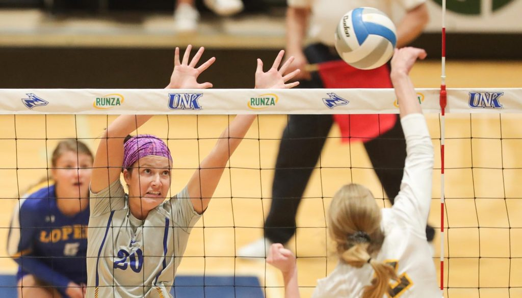 Kendall Schroer (20) is a four-year starter for UNK, where her older sister Emma also played volleyball and her father Mike played basketball. (Photo by Corbey R. Dorsey, UNK Communications)