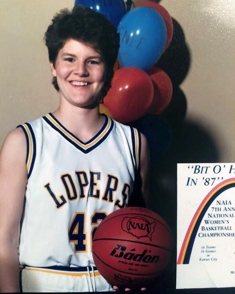 A 5-foot-11 small forward from Roseland, Brenda VanLengen arrived on the UNK campus in August 1983 and earned varsity playing time as a freshman.