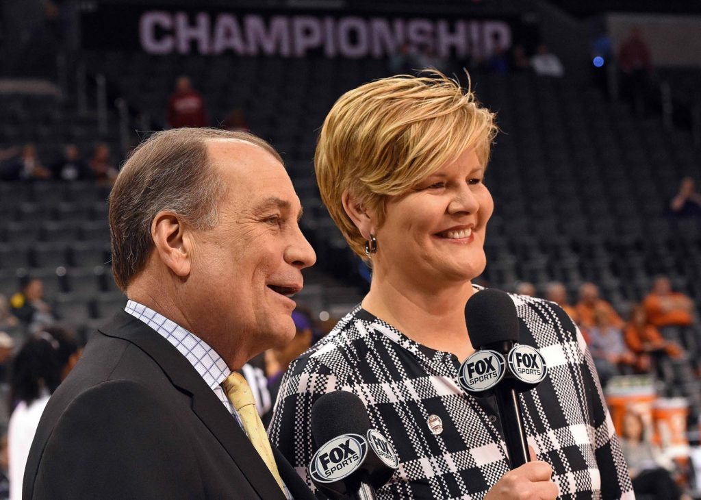 Fox Sports' Ron Thulin and Brenda VanLengen broadcast during the Big 12 Women's Basketball Championship at Chesapeake Energy Arena in Oklahoma City, Oklahoma on March 3, 2017. (Scott D. Weaver/Big 12 Conference)