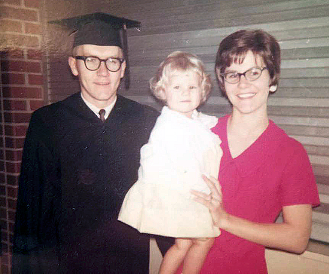 """Brenda VanLengen, who calls herself a """"lifelong Loper,"""" was born in September 1965 while her parents Delmer and Sandra were attending Kearney State College. This family photo was taken when Delmer graduated from college. (Courtesy photo)"""
