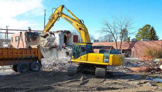 Demolition of Welch Hall begins to make way for construction of new STEM building