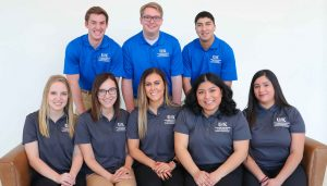 The College of Business and Technology Student Ambassadors Program launched last semester to promote UNK and boost enrollment while giving students a chance to develop their leadership skills. Participants are, front row, from left, Kelsey Sloup of Seward, Jessica Temoshek of Kearney, Lindsey Trotter of Arcadia, Neli Morales-Garcia of Hastings and Jessica De La Torre of Lexington and, back row, Nate Kiolbasa of Juniata, Andrew Burival of O'Neill and Austin Chitty of North Platte. (Photo by Corbey R. Dorsey, UNK Communications)