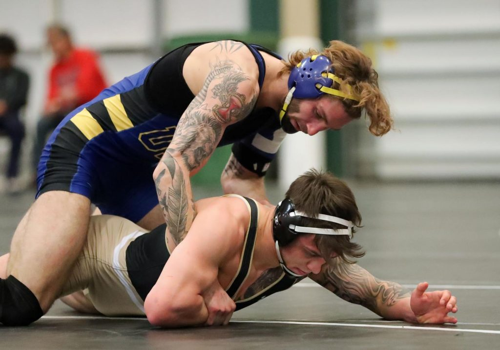 Calvin Ochs is one of 39 wrestlers in UNK history to earn All-American honors in multiple seasons. He's undefeated this season and ranked No. 1 in Division II at 165 pounds. (Photo by Corbey R. Dorsey, UNK Communications)